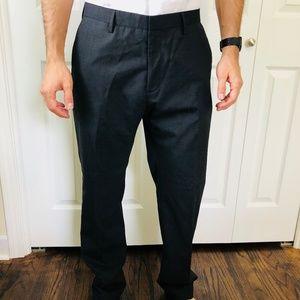 Modern Slim Fit Dark Charcoal Wool Pants 33x32